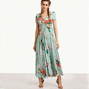 Vestido Longo Estampa Flor