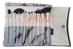 Kit com 12 Pincéis Profissionais para Maquiagem KP1-2F - Macrilan