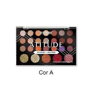 Paleta de Sombra e Glitter Atitude - SP Colors