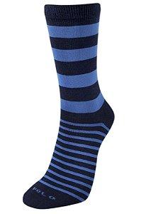 Meias Premium Listras Azul 1 Par - 22cm de cano - Tamanho: 35 a 42