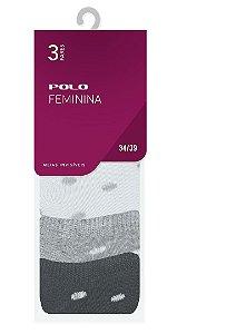 Kit Meia Feminina Invisível 3 Pares - Tamanho: 34 a 39