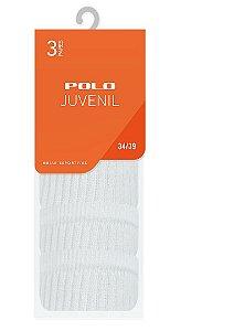 Kit Juvenil Esportivo Branca 3 Pares - Tamanho: 34 a 39