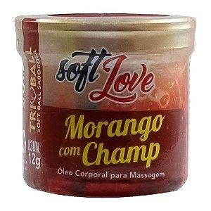 Bolinha Tri Ball Beijável Morango com Champanhe Soft Love