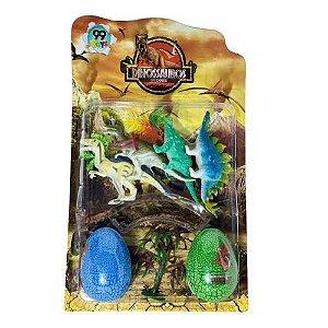 Kit Parque Dos Dinossauros 4 Dino 2 Ovos Gigantes Coloridos