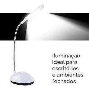Luz 4 Leds Ajustável Mesa Portátil Pilhas Lampada Leitura