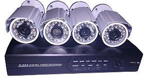 Kit 4 Câmeras + Dvr Completo Segurança Total 800 Linhas Diel