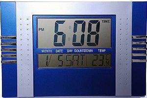 Relógio De Parede Digital Com Data Temperatura E Alarme