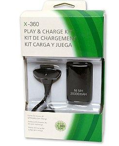 Kit Carregador E Bateria De Controle Do Xbox 360 Completo