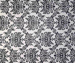Papel De Parede Arabesco Preto e Branco Rolo 5 metros X 45 cm