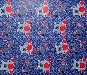 Papel De Parede Infantil Ursinhos Azul e vermelho Adesivado 5 Metros Por 45cm #1