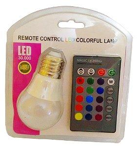 Lampada Dicróica Colorida Rgb Bivolt Rosca Controle Remoto