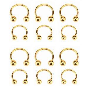 Cartela Com 12 Piercing Para Nariz,orelha,ferradura, Dourado