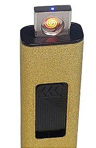 Isqueiro Eletrônico Usb Recarregável Textura Dourada, Seguro