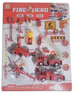 Kit Corpo De Bombeiros Fire Hero 15 Peças-(carros E Placas)