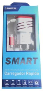 Carregador Rápido Smart V8 Para Celular Com 2 Entradas Usb
