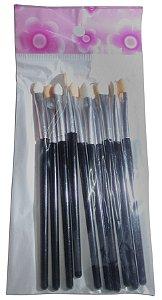 Kit 10 Unidades De Pincel Para Maquiagem Sombreamento