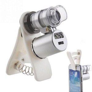 Clipe Universal Para Celular Led Microscópio Lupa 60x Lens