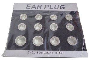 Cartela Com 12 Ear Plug Alargador Aberto Aço Cirúrgico 316l