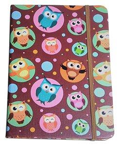 Caderno Diário Com Pauta Capa Estampa Corujas 82 Folhas 21cm