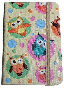 Caderno Diário Com Pauta Capa Estampa Corujas 82 Folhas 14cm