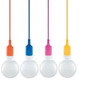 Pendente Colorido Para Lâmpada De 95cm Bocal E27