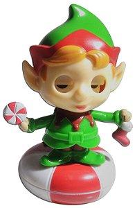 Boneco Mini Elfo De Natal Brinquedo Que Dança Com Luz Solar
