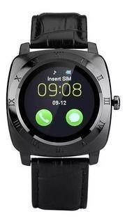 Relógio Smartwatch X3 pulseira de Couro Gold