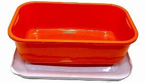 Pote Retangular de 1 Litro 4 cores Variadas com tampa 100 unidades