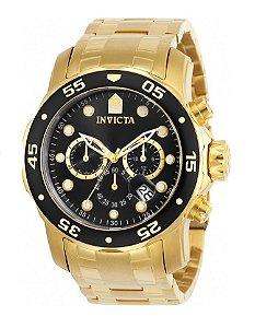 Relógio Invicta 0072 Pro Diver Dourado Fundo Preto - Original