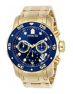 Relógio Invicta 0073 Pro Diver Dourado Fundo Azul - Original