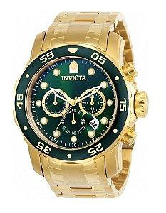 Relógio Invicta 0075 Pro Diver Dourado Fundo Verde - Original