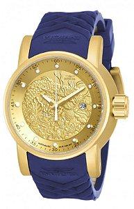 Relógio Invicta 18215 S1 Rally Yakuza Dourado Pulseira de Borracha Azul - Original