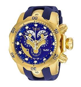 Relógio Invicta 14465 Reserve Hibrido Azul Pulseira de Borracha Azul - Original