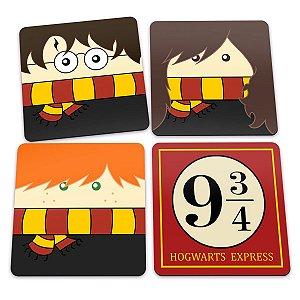 Porta-Copos Conjunto 4 Peças Harry Potter