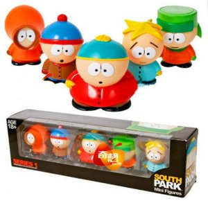 Kit 5 Action Figures Kyle, Stan, Eric, Kenny e Butters - South Park
