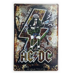 Placa de Metal Angus Young - AC/DC Highway to Hell
