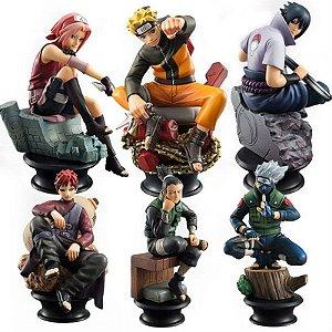 Kit 6 Action Figures Naruto, Sasuke, Sakura, Kakashi, Gaara e Shikamaru - Naruto Shippuden