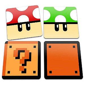 Porta-Copos Conjunto 4 Peças Cogumelos e Blocos - Super Mario Bros