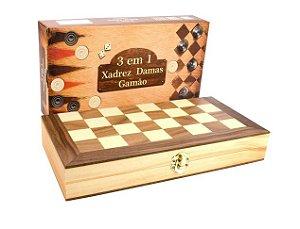Jogo 3 em 1 Tamanho Médio - Xadrez, Damas e Gamão