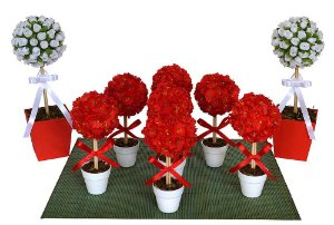 Kit Topiarias Vermelho e Branco