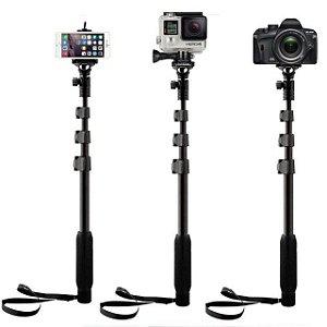 Bastão de Selfie em Alumínio Yunteng com 1,25m Para Gopro, SJCam e Câmeras Similares
