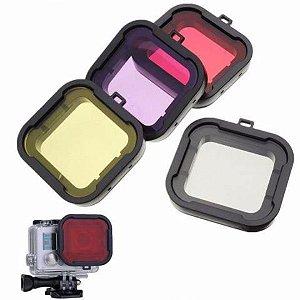 Filtros Para Mergulho das Câmeras Gopro HERO3, HERO3+ e HERO4 Silver e HERO4 Black - Kit com 4 Filtros