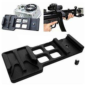 Suporte em Alumínio Para Trilhos de 20mm de Armas - Modelo 03 -Para Câmeras Gopro, SJCam e Similares
