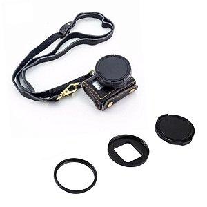Bolsa em Couro com Filtro UV 52mm para Gopro HERO5 Black, GoPro HERO6 Black e GoPro HERO7 Black