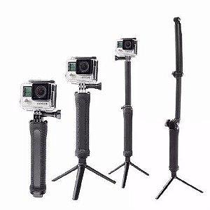 Bastão Dobrável 3Way ou 3 Formas Similar Tomate Para Gopro, SJCam, Sony e Câmeras Similares - 2ª Linha