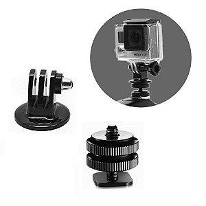 Sapata com Pparafuso 1/4 e Adaptador Para Câmeras GoPro, SJCam, Sony / DSLR.