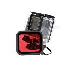 Filtro Vermelho Para Caixas Estanque Padrão GoPro HERO5, HERO6, HERO7 White, Silver e Black