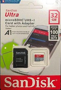 Cartão MicroSD SANDISK ULTRA 32gb 100mb/s Para Câmeras GoPro, DJi Osmo Action Cam, SJCam, Sony e similares.