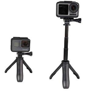 Mini tripé e bastão com tamanho máximo de 23cm, compatível com GoPro, DJi Osmo Action, SJCam, Sony e similares.