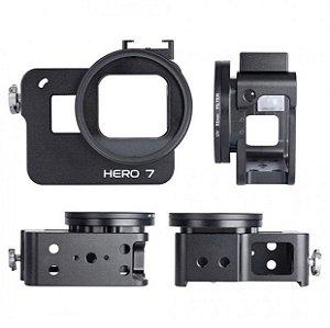 Moldura ou Frame em alumínio na cor PRETA com filtro UV 52mm para câmeras GoPro HERO7 Black